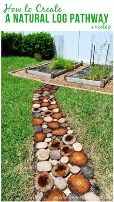 How to Create a Natural Log Pathway + Video via SewWoodsy.com #howto #DIY #garden
