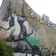 Berlin, Kreuzberg. Art by ROA. Street art.