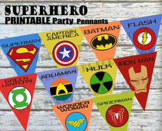 PRINTABLE Large Superhero Party Banner Pennant Superman Batman Spiderman Captain America Flash Green Lantern Aquaman Wonder Woman Iron Man