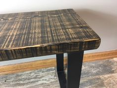 Salvaged Reclaimed Urban Wood Scorched Bench