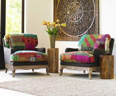 Vintage Kantha Upholstered Chair from VivaTerra.com. You could design a whole room around this!  #boho #bohemian #chair