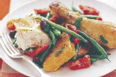 Pumpkin, green beans and semi-dried tomato paired with roast chicken for a warm salad. For a lighter option, swap out roast chicken for lemon zest poached chicken breast,and roughly chop fresh cherry tomatoes instead of the semi-dried.