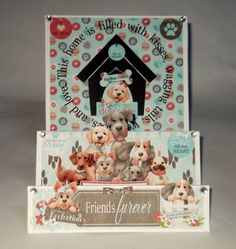 Dog stepper card that is perfect for the dog lover in your life!!  These Furever Friends will make you smile and the papers and elements of this kit will allow you to create so many cards with all of it's versatility!!   Stepper card created using Woof Collection from Nitwit Collections™