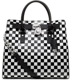 Michael Kors White & Black Large Hamilton Checkerboard Print Tote