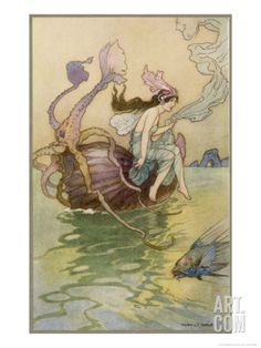 Fairy Riding a Nautilus Giclee Print by Warwick Goble at Art.com