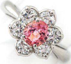 パパラチャ(パパラチア)サファイア1.08ct ダイヤモンド計1.191ct リング プラチナ