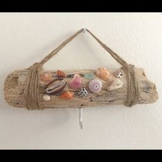 Selling this Handmade driftwood accessory holder ☀️⛱ in my Poshmark closet! My username is: alohaalex. Rustic Christmas Ornaments, Cottage Chic, Driftwood, Twine, Hawaiian, Repurposed, Upcycle, Shells, Reusable Tote Bags