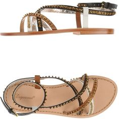 Dsquared2 Sandals ($279) ❤ liked on Polyvore featuring shoes, sandals, dark brown, leather buckle sandals, sequin flat shoes, colorful shoes, multi colored sandals and colorful sandals
