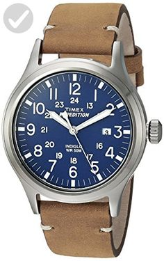 Timex Men's TW4B01800 Expedition Scout Tan/Blue Leather Strap Watch - Mens world (*Amazon Partner-Link)