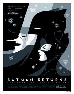 The is an amazing illustration for the movie batman returns. It has an old theatre art style to it, that was executed very well. The dark colors go with batman's theme, and the snowflakes give it a very somber tone