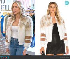 Kristin's white fur jacket with stripes on Very Cavallari White Fur Jacket, Leopard Fur Coat, Fur Bomber, Leopard Print Skirt, Kristin Cavallari, Other Outfits, Printed Skirts, Style Me, Autumn Fashion