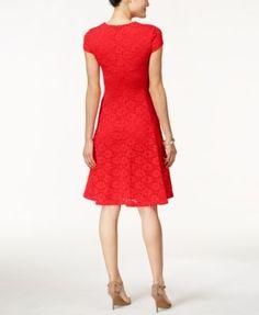 Alfani Lace Jacquard Fit & Flare Dress, Only at Macy's - Dresses - Women - Macy's