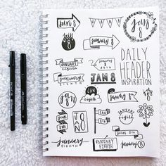 Bullet journal headers help your bujo titles stand out. Check out these examples of different bujo fonts, banners, and headers to copy in your journal. Bullet Journal Headings, Bullet Journal Vidéo, Bullet Journal Themes, Bullet Journal Spread, Bullet Journal Inspiration, Journal Layout, Journal Pages, Journal Ideas, Doodles