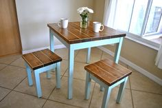 Farmhouse Breakfast Table or Dining Table Set with or without Stools - Farmhouse Table : breakfast tables and chairs - Cheerinfomania.Com