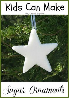 Sugar Ornaments are so easy to make and SO very pretty!     sugar, glitter, water     Mix 1/2 cup sugar and 1 tablespoon glitter...