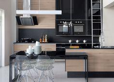 Cozinhas - Evviva Bertolini - Gris/vidro preto