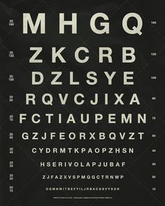 Herman Snellen Vintage Eye Chart with Letters - Vintage Reproduction