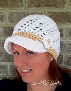 Handmade newsboy style brimmed crochet hat white by LandOfKnots