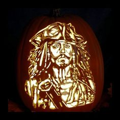 Captain Jack Sparrow - Carved on a Foam Pumpkin - Plug in light with Switch included. Halloween Pumpkin Designs, Scary Halloween Pumpkins, Pirate Halloween Costumes, Couple Halloween Costumes For Adults, Halloween Jack, Halloween Design, Teen Costumes, Woman Costumes, Couple Costumes