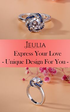 Express your love AND individual sense of style with one of Jewelry by Jeulia's stunning engagement rings. Inspired by the petals of a flower, brilliant halos of gems gracefully curve around a round-cut center stone. Shimmering white sapphires adorn both sides of the ring shank.#JeuliaJewelry