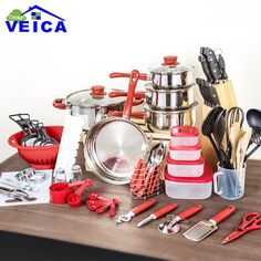 Cooking Pots,Pans and Kitchen Starter Combo Utensil. Just starting out, new apartmentor house? Get every thing you need to fulfill all your kitchen needs. set includes A) 5pcs cookware set 16cm saucepan with lid 18cm saucepan with lid 20cm saucepan with lid 24cm casserole with lid 24cm frypan B)16pcs 1pc cutting board 1pc carbon steel colander in color coating 10pcs(5pcs measuring cups+5pcs measuring spoons) 1pc measuring jug 3pcs wooden tools C)14pcs 2pcs salt and pepper set 5pcs strainers…