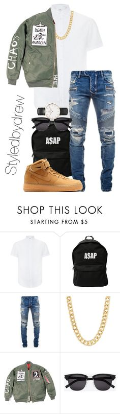 Going out with friends (Men) by fvshionkill3r on Polyvore featuring Armani Collezioni, Balmain, Daniel Wellington, ASAP, Yves Saint Laurent, NIKE, men's fashion and menswear