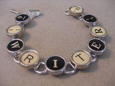 Typewriter key Jewelry Bracelet  spells WRITER  by magiccloset, $42.00