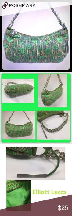 """ELLIOTT LUCCA NWOT Green Floral & Butterfly Bag ELLIOTT LUCCA NWOT Green Floral Bag with Unique Butterfly Strap, Zipper Pull, and Triangular Fob.  Interior Has One Zip Pocket, and Two Slip Pockets.  Overall Zip Closure. Silver Tone Hardware.  12x6.5x2"""" with 6.5"""" Strap Drop.  Orig. $ 85. Elliott Lucca Bags Shoulder Bags"""