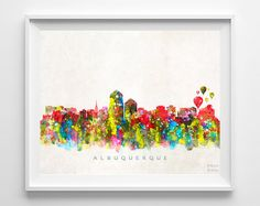 Albuquerque Skyline Print Watercolor Art New by InkistPrints