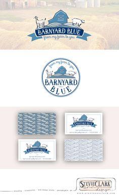 Branding and Logo Set for Barnyard Blue | hand drawn logo, branding, identity, illustration, farm logo, barn logo, stamp, business cards, goat, sheep, soap, graphic design, typography, designer, stevieannclark | stevieannclark.com
