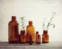 """Still life photography - vintage bottles photography - brown sienna rustic kitchen wall art - fine art photography print  """"Apothecary"""""""