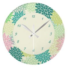 Teal & Pink Mums Wallclocks