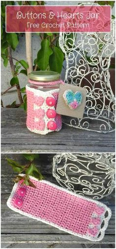 we have round up these  Free Crochet Patterns for Valentine's Day that are sure to make the best Crochet Valentine's Day Gifts for the day!Buttons And Hearts Jar Cozy