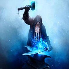 Image result for dwarf forging a blue blade