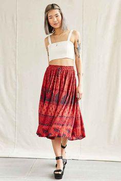 Urban Renewal Vintage Overdyed Midi Skirt-