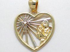 10k yellow gold w/ diamond accent cross heart by 24k18k14k10kgold, $40.00