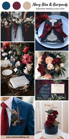 Top 8 September Wedding Color Combos for 2020 - Navy Blue + Burgundy. wedding colors Top 8 September Wedding Color Combos for 2020 Navy And Burgundy Wedding, Navy Color Wedding, Burgendy Wedding, Burgundy Top, Navy Blue Weddings, Wedding Navy Blue, Wedding Color Schemes Fall Rustic, Color Themes For Wedding, Wedding Color Palettes
