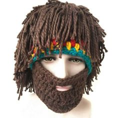 Ingenious Men Winter Viking Hats Adult Funny Party Mask Beanies Beard Wig Hats Handmade Knint Wool Ski Caps Men's Accessories
