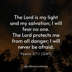 The Lord is my light and my salvation; I will fear no one. The Lord protects me from all danger; I will never be afraid. Christian Images, Christian Quotes, Gods Love, My Love, Psalm 27, Inspirational Phrases, My Salvation, Love Phrases, Forgiveness