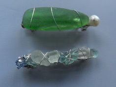 Seaglass Barrettes | travels and seaglass blog One on bottom SOLD