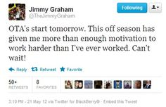 The Saints Player Tweet of the Day for May 21, 2012 goes to TE Jimmy Graham #Twitter #Saints #NOLA