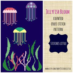 A personal favorite from my Etsy shop https://www.etsy.com/listing/201119385/jellyfish-cross-stitch-pattern-modern