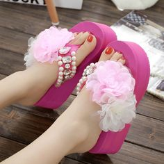 22f33c067ac7d0 ... Korean rose handmade diamond summer slippers sandals female pearl slope  with thick bottom beach sandals release ...