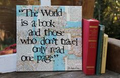 """12x12 vintage map/book page """"The world is a book..."""" quote by St. Augustine hand stamped by Houseof3"""