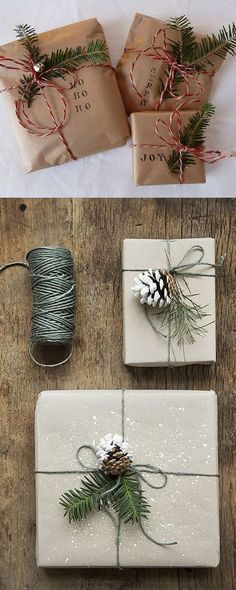 16 Favorite Easy Gift Wrapping Ideas (Many are Free!)Here comes 16 favorite gift wrapping ideas for Christmas and everyday celebrations! These gift wrapping ideas offer lots of inspirations such as creat. Noel Christmas, Winter Christmas, Family Christmas, Rustic Christmas, Christmas Reef, Christmas Quotes, Christmas Movies, Christmas Bunting, Christmas Tables