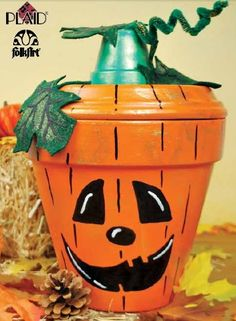 Would do without the face. Maybe chevrons in tow shades of orange.Plaid® FolkArt® Clay Pot Jack O' Lantern (clay flower pots front porches) Flower Pot Art, Clay Flower Pots, Flower Pot Crafts, Diy Flower, Fall Crafts, Holiday Crafts, Crafts To Make, Crafts For Kids, Diy Crafts
