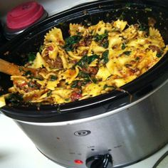 Spinach and beef Ravioli in a crockpot