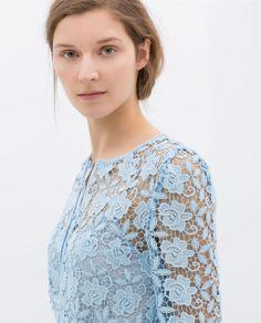 #zara #shopping #fashion #blue #ss14 #lace #top
