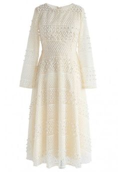 Dwell in Pearls Eyelet Organza Dress in Cream