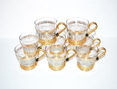 Vintage Greek Key Glasses Tumblers Gold Greek by JudysJunktion, $73.95